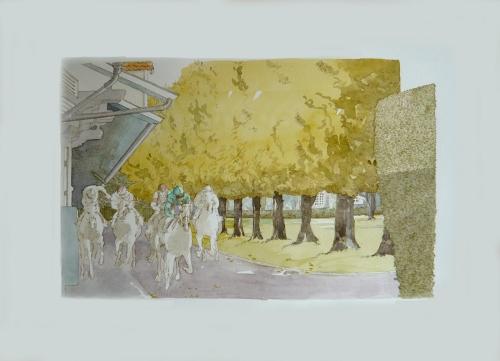 """Une aquarelle au profit des oeuvres de l'Association """"Just World International"""" à Deauville le 11 août - 2° Gala de charité en Europe. (L'écurie """"Teddy"""" à Chantilly ayant appartenue à Marcel Boussac)"""